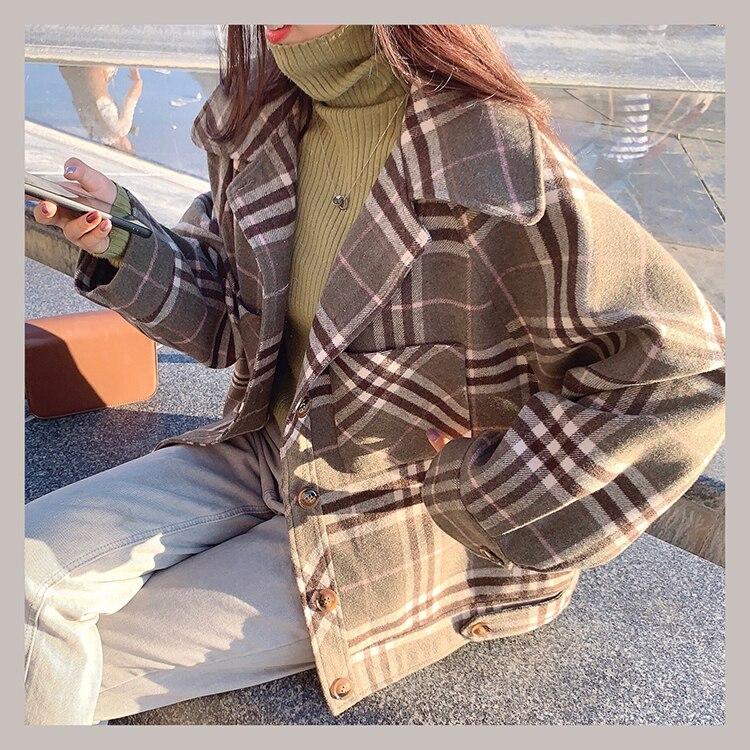 MISHOW 2019 Autumn Winter Gray Thick Woolen Coat Women Causal Lapel Striped Plaid Long Sleeve Coat Jackets  MX19C9538 17