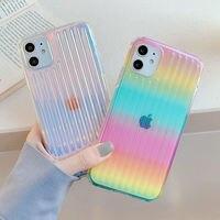 Funda de teléfono colorida con gradiente láser para iPhone, 11, 12, 11 Pro, Max, XR, XS, Max, X, 7, 8 Plus, 12 Pro, SE, 2, funda transparente a rayas