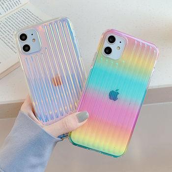 Laserowe kolorowe etui na telefon iPhone 11 12 11 Pro Max XR XS Max X 7 8 Plus 12 Pro SE 2 twarde PC przezroczyste paski tanie i dobre opinie Ranipobo CN (pochodzenie) Aneks Skrzynki Colorful Laser Stripe Phone Case Urządzenia iPhone Apple Do telefonu iPhone 6