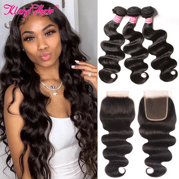 KLAIYI Body Wave Bundles With Closure Peruvian Human Hair Extension Frontal Weave And A Natural Wavy - discount item  21% OFF Human Hair (For Black)