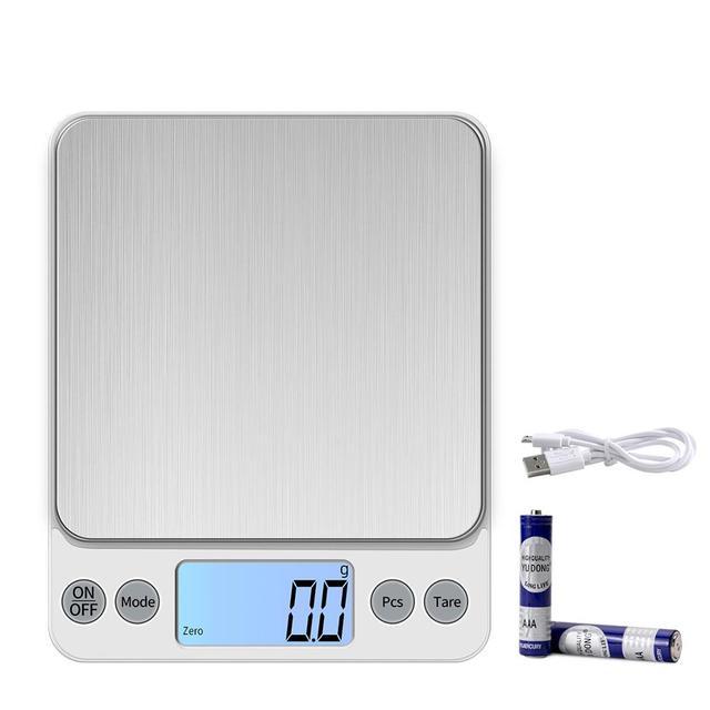 KUBEI قابلة للشحن أكبر حجم 5 كجم 0.1 جرام/10 كجم 1 جرام مقياس المطبخ الإلكترونية للأغذية القهوة مجوهرات الدقة LCD مقياس رقمي