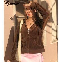 Rockmore-Sudadera Harajuku marrón para mujer, Chaquetas de manga larga Y2K de terciopelo coreano, sudadera con bolsillos, Tops cortos finos, trajes Vintage