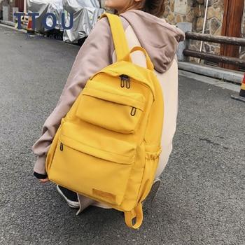 Mochila informal para mujer, mochila escolar de lona de Color sólido para adolescentes, bolsas de viaje de gran capacidad para portátil, bolsa de libros verde, rojo y amarillo