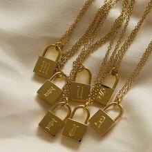 Collier cadenas plaqué or en acier inoxydable, pendentif personnalisé en or, avec lettres, offre spéciale