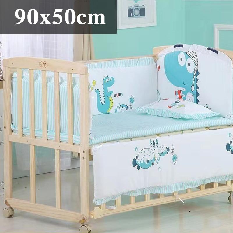 5 шт. натуральный хлопок детское постельное белье Комплект для бампера мягкий съемным моющимся коляска для новорожденных Детское постельное белье детская кроватка бампер детская комната с декором на утолщенной - Цвет: Stereo dinosaur90x50