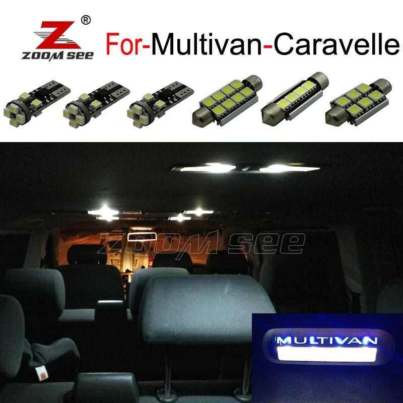 White Error Free interior dome LED bulb + Entry Leg Foot Step light Kit For VW For Multivan For Caravelle MK5 MK6 T5 T6 (03 18)