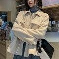 Nuevo abrigo de cachemir de cordero de imitación de invierno 2019 para mujer mezcla de lana corta de alta calidad de solapa suelta de lujo más abrigos de felpa chaquetas