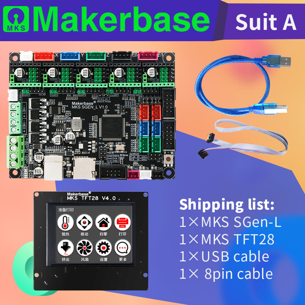 3D Printer Motherboard Suit MKS SGEN_L & MKS TFT28 Support Multiple Drivers Can Print With SD Card And USB-PC