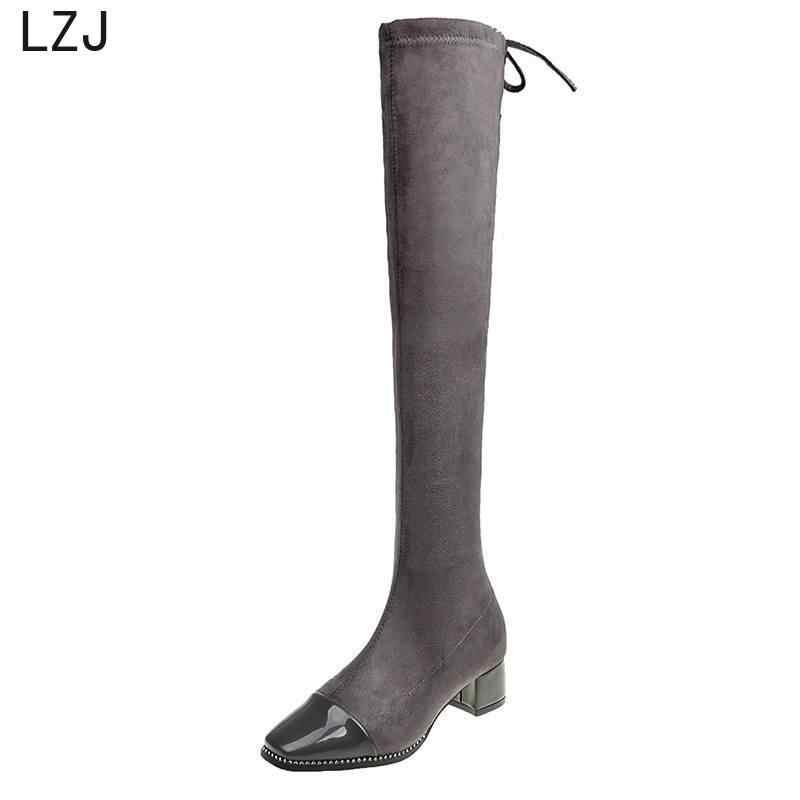 LZJ2019 satış moda kadınlar için uzun çizmeler nubuk deri seksi soba borusu diz üzerinde yüksek topuklar Zapatos De Mujer moda çizmeler