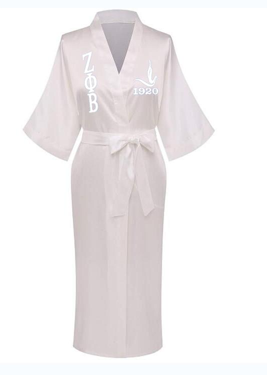 White And Blue Color Greek Letter 1920 Founding Year Zeta Phi Beta Robes Sorority Sisterhood Long Apparel For Anniversary Party