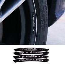 4 pçs cubo da roda do carro adesivos liga de alumínio quattro emblema acessórios para audi a1 a3 a4 a5 a6 a7 a8 q2 q3 q5 q7 tt
