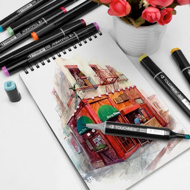 Markers TouchNew Drawing Painting Set Sketch Pens Art Markers Brush 20 30 40 60 80 Colors Alcohol Based Art Supplies Colors pen 2