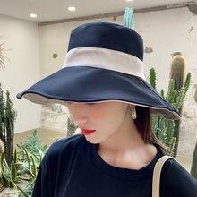 Шляпа от солнца ht2987 женская двусторонняя Панама с плоским