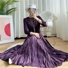 2021 spring women's dress Miyak folds fashion design loose large size long sleeve print women's And the calf  dress robes