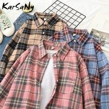 Karsany primavera xadrez camisa feminina blusa do vintage solto manga longa escritório feminino tops e blusas casaco senhoras xadrez blusa camisa