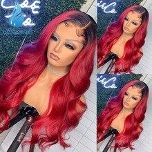 Smd ombre vermelho 13*6 perucas de cabelo frontal do laço brasileiro remy perucas de cabelo humano com o cabelo do bebê preplucked hairline para as mulheres