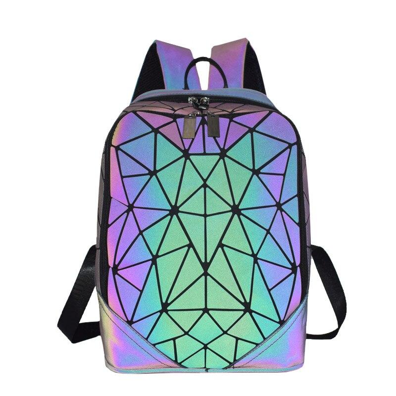 Image 5 - 패션 여성 배낭 mochila 기하학적 빛나는 배낭 bagpack 소녀 noctilucent 여행 어깨 가방 학교 다시 팩에 대 한백팩수화물 & 가방 -
