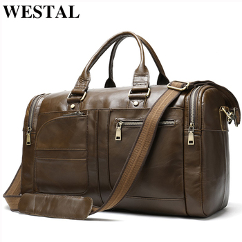 WESTAL men's travel bag genuine leather duffle bag men's overnight bag vingate weekend bag leather travel bag luggage business
