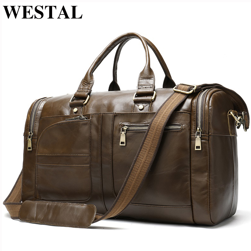 WESTAL Men's Travel Bag Genuine Leather Duffle Bag Men's Overnight Bag Vingate Weekend Bag Leather Travel Bag Luggage Business