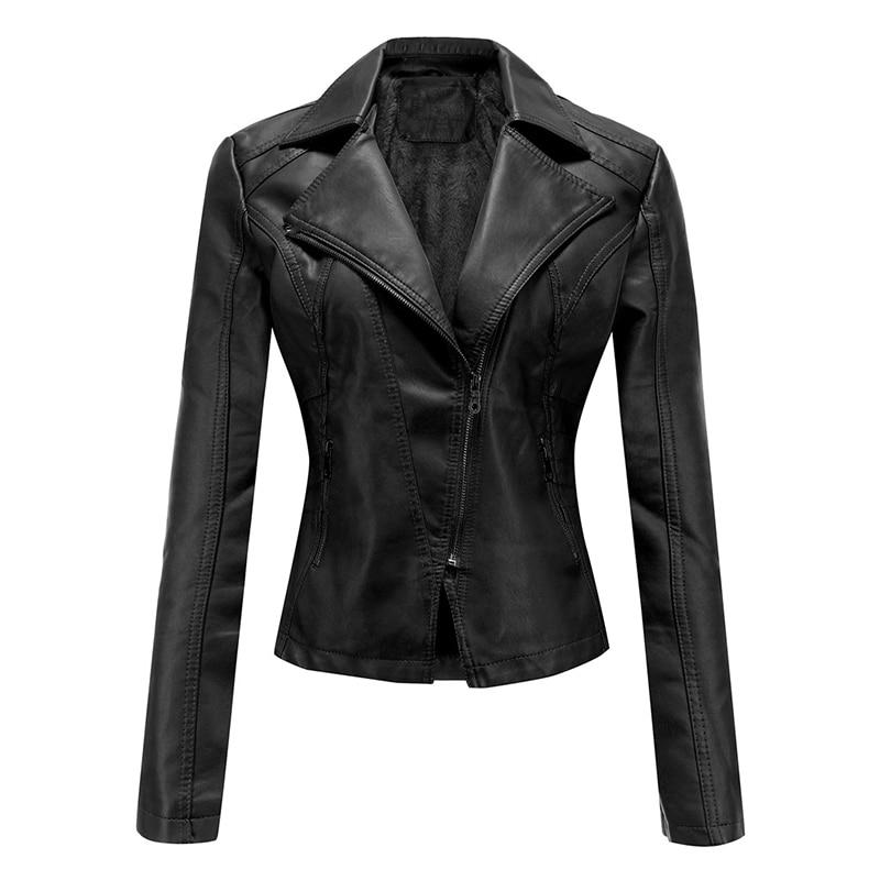 Women Plus Size Cashmere PU Leather Jacket 2020 Autumn Solid Biker Jackets Korean Style Turn Down Collar Casual Coats Femme