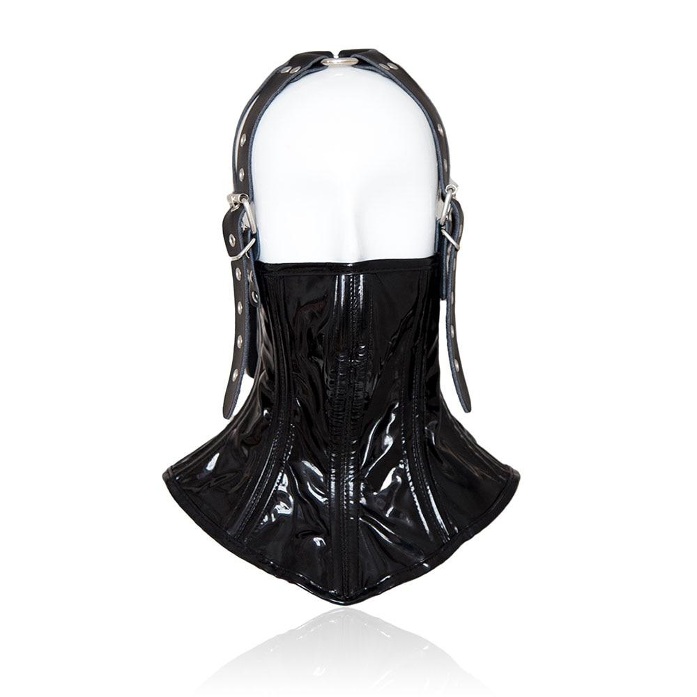 Adjustable Leather Head Face Mask BDSM Bondage Restraint Slave Cosplay Erotic Neck Collar Half Face Masks Sex Toys For Couples