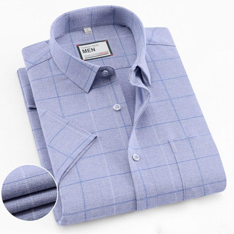 Men Plaid Shirts New Summer Mens Short Sleeve Shirts Cotton Casual Slim Fit Bamboo FIber Male Dress Shirt