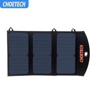 CHOETECH Portable Solar Phone Charger with Dual USB Port and Auto Detect Tech for iPhone 6S/6 Plus Galaxy S7/S7 Edge and More