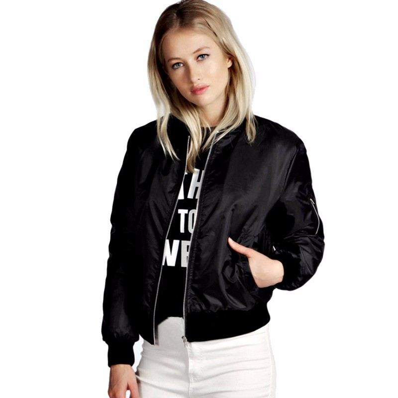 H51a1f858c756442aa1f087e31e6da4ece 2021 Spring Autumn Women Thin Jackets Tops MA1 Basic Bomber Jacket Long Sleeve Coat Casual Stand Collar Slim Fit Outerwear