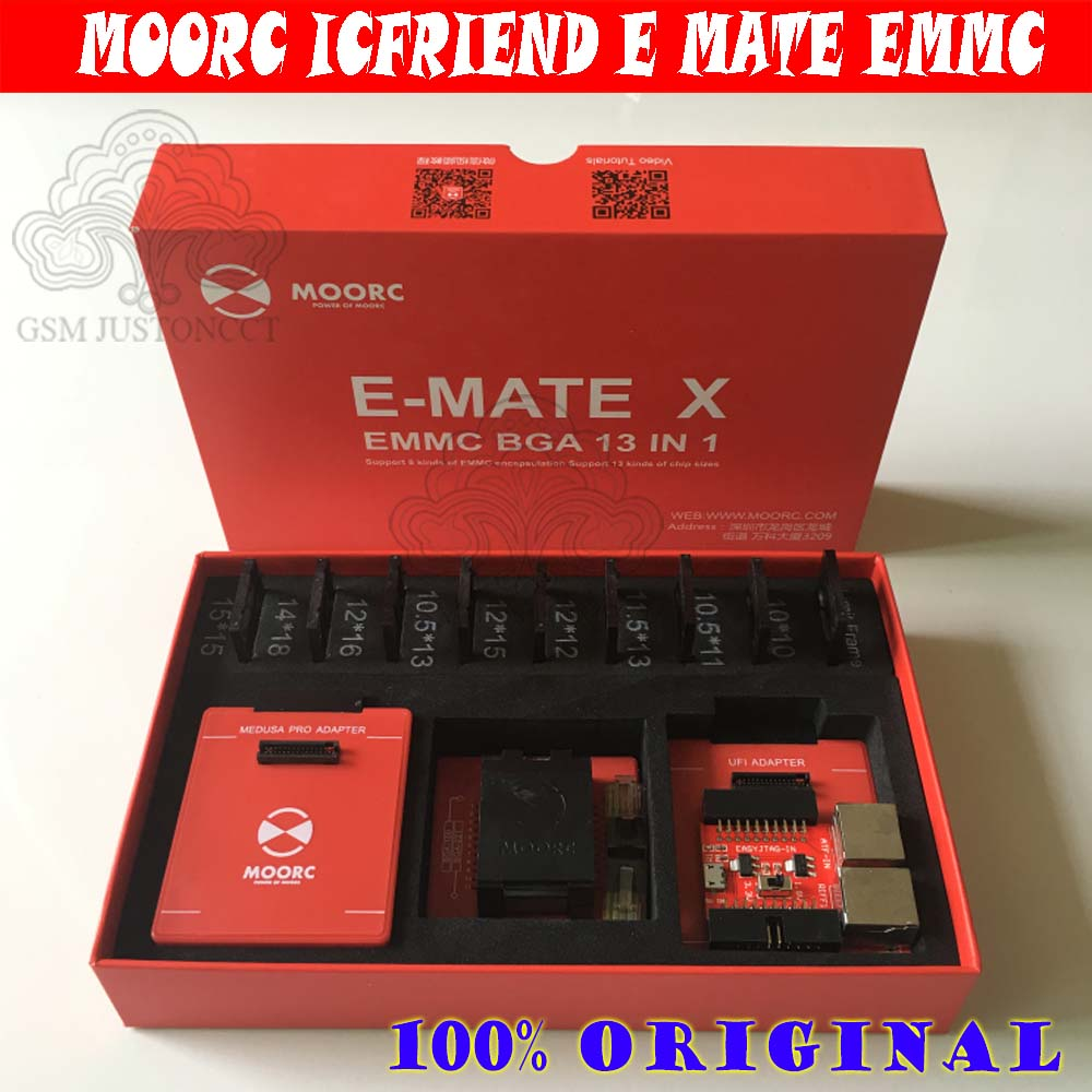New MOORC High Speed E-MATE X E MATE BOX EMATE EMMC BGA Emate 13in 1 For 100 136 168 153 169 162 186 221 529 254 Easy Jtag Plus