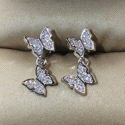 Серебряные золотые бабочка из розового золота милые серьги с цирконием камень для женщин модные ювелирные изделия 2019 новые корейские серьг...