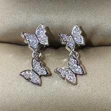 Silver Gold Rose Gold Butterfly Cute Stud Earrings with Zircon Stone for Women Fashion Jewelry 2019 New Korean Earrings 2019 new rose gold stud earrings for women with bling zircon stone fashion jewelry cute korean earrings 925 silver