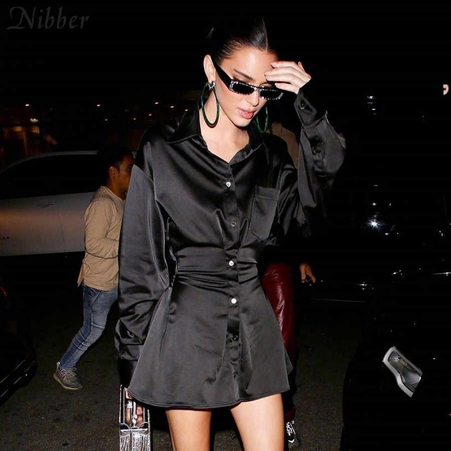Nibber office lady Slim Soft chiffone long sleeve dresses womens 2019fall Winter fashion casual Elegant black mini dresses mujer
