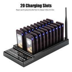 Restaurant Pager System 20 Channels Guest Paging System 1KM Connection Distance Restaurant Pager Wireless Coaster Pager Calling