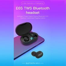 Słuchawki bezprzewodowe E6S TWS bezprzewodowe słuchawki douszne w uchu sport zestaw słuchawkowy z mikrofonem Bluetooth-compatible5 0 słuchawki na telefon komórkowy tanie tanio NoEnName_Null NONE Inne CN (pochodzenie) Prawdziwie bezprzewodowe Zwykłe słuchawki