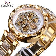 Forsining механические Женские часы Лидирующий бренд роскошные женские часы с бриллиантами автоматические золотые часы из нержавеющей стали водонепроницаемые женские часы