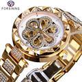 Forsining Mechanische Vrouwen Horloge Top Brand Luxe Diamant Vrouwelijke Horloges Automatische Goud Roestvrij Staal Waterdichte Dames Klok