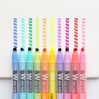 10 teile/los Löschbaren Doppel Kopf Kunst Marker 10 Farben Highlighter Stift für Zeichnung Malerei Fluorecent Schule Büro Schreibwaren