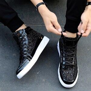 Image 4 - ใหม่ 2019 ใหม่ลำลองผู้หญิงรองเท้าฤดูใบไม้ผลิฤดูใบไม้ร่วง PU Bling แฟชั่น Sliver รองเท้าผ้าใบสตรี LACE UP ผู้หญิงรองเท้ารองเท้าขนาดใหญ่