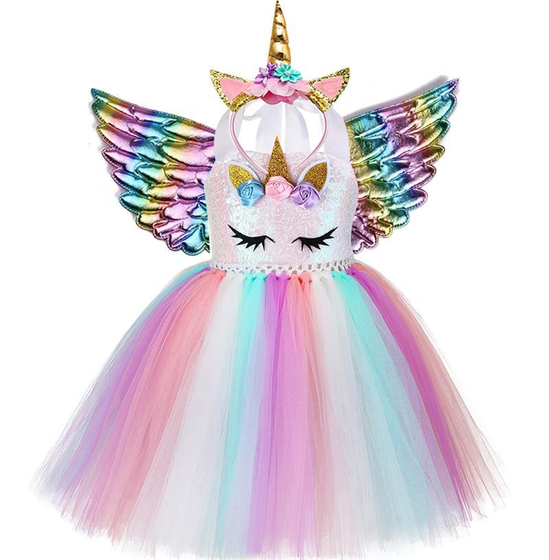 Kids Clothes Girls Summer Sequin Unicorn Dress Princess Dresses For Women Wedding Party Dress LED Children Clothing vestido 2021 1