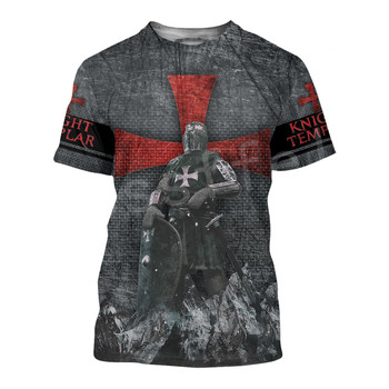 Tessffel cavalier Knights Templar Armor Causal Streetwear Harajuku 3DPrint Short Sleeve Summer Man's top T-shirt Men/Women A-3 2