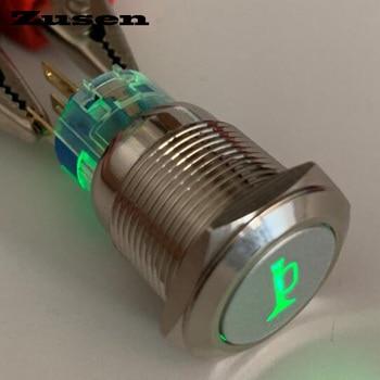 Interruptor de botón pulsador momentáneo con símbolo de cuerno iluminado de 19mm zuses (ZS19F-11DT/G/12 V/N con Simbo de cuerno iluminado