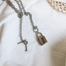 Hip-Hop Women Jewelry Silver Color PadLock Pendant Necklace Brand New Stainless Steel Rolo Cable Chain Friendship Gifts