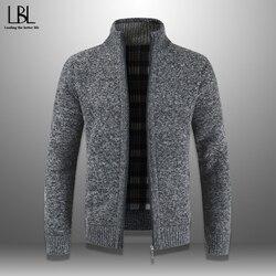 Męski sweter jesienno-zimowy ciepły gruby sweter dzianina casualowa kurtka wiatrówka stójka kołnierz płaszcz męski zamek dzianinowy płaszcz