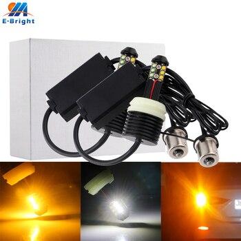 4X DRL Turn Signal LED 12 SMD 1156 BA15S P21W BAU15S PY21W 3156 7440 W21W Amber&White Dual Color Car LED Bulb Tail Headlight