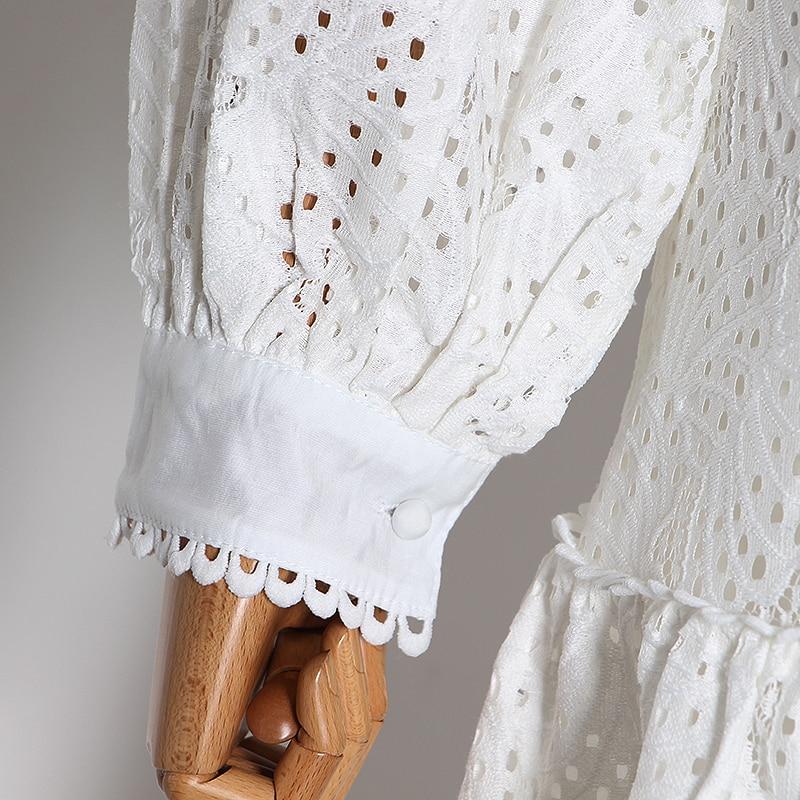 CHICEVER Sexy ahueca hacia fuera la falda de la camisa conjuntos de dos piezas mujer Blusa con manga de linterna Tops mujeres de alta cintura Patchwork traje con falda de encaje - 5