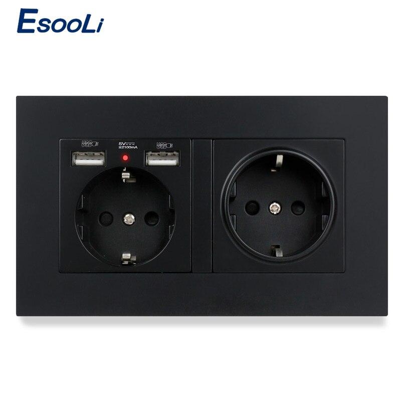 Пластиковая панельная настенная розетка Esooli из поликарбоната европейского стандарта, электрическая розетка с двойным USB умным Индукционны...
