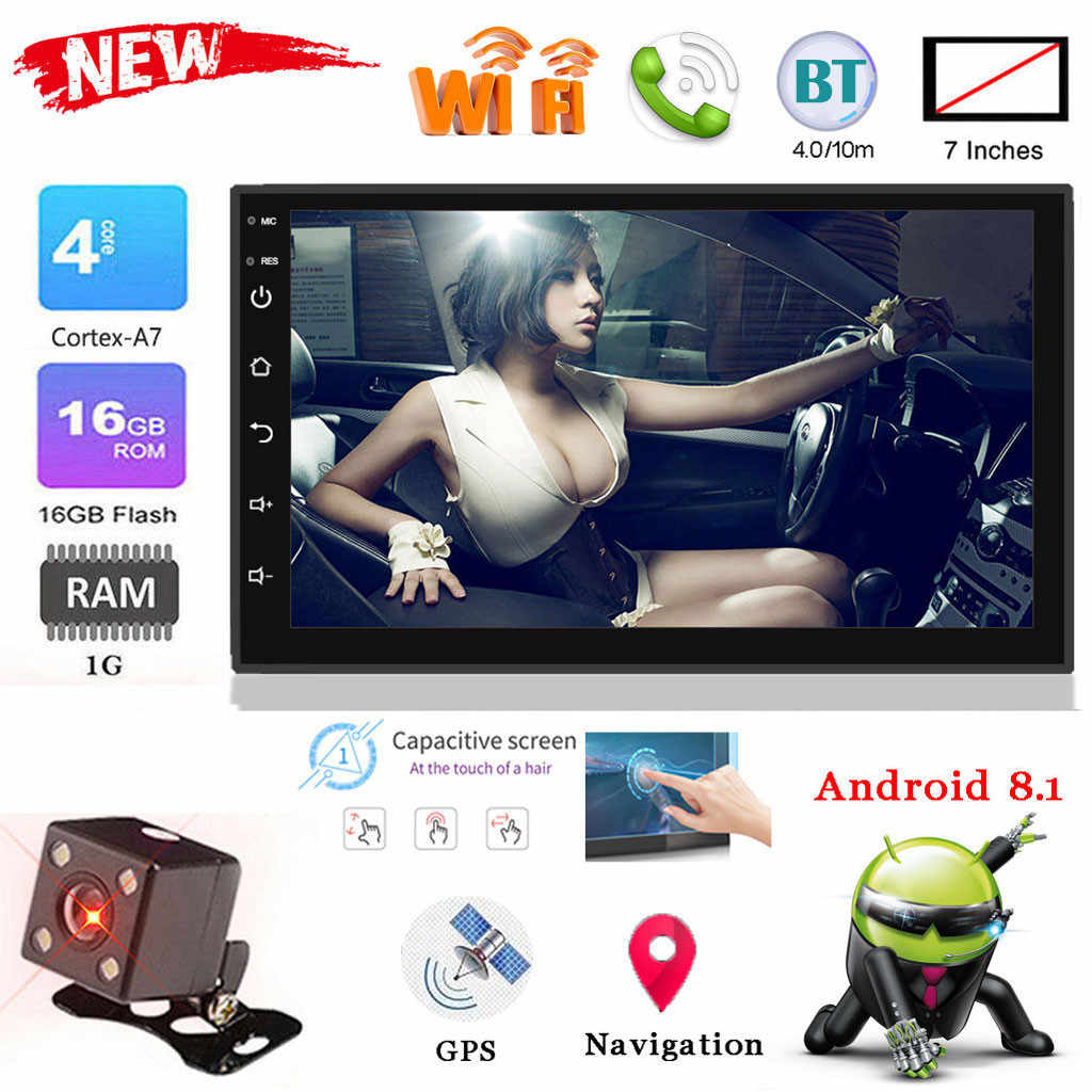 7IN 2Din HD BT araba MP5-9218 GPS navigasyon multimedya oynatıcı Android 8.1 FM USB Bluetooth ses araba radyo Multimidia MP5
