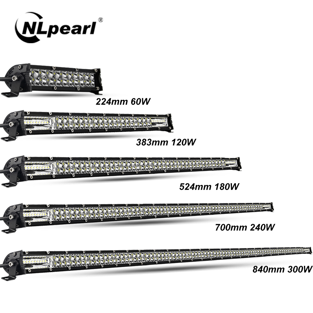 Nlpearl Ultra-Slim 60W 120W 180W 240W LED Bar For Tractor 4X4 UAZ Offroad 4WD ATV Truck Combo LED Work Light Bar Car Extra Light