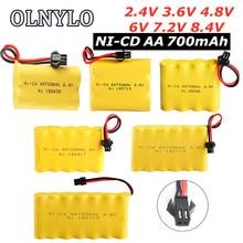 700mah 2.4v/3.6v/4.8v/6v/7.2v/8.4v ni-cd aa700mah bateria recarregável para brinquedos de controle remoto carro elétrico volt SM-2P plug