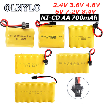 700mah 2.4V/3.6V/4.8V/6V/7.2V/8.4V Ni-CD AA700mah Rechargeable Battery Pack For Remote Control Toys Electric Car Volt SM-2P Plug image